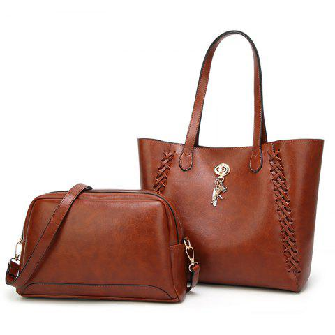 Ladies Fashion Oil Wax Feather Ornaments Two in One Handbag - BROWN