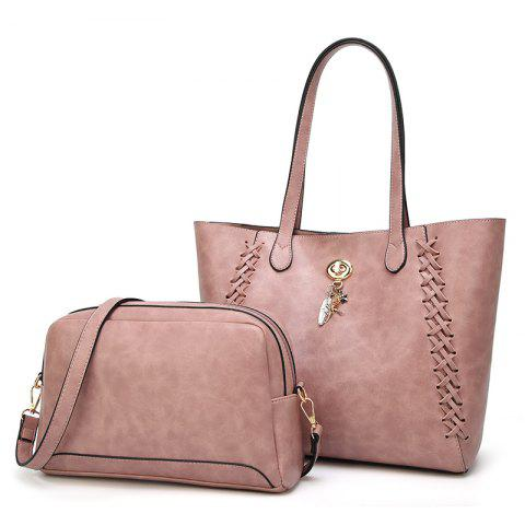 Ladies Fashion Oil Wax Feather Ornaments Two in One Handbag - PINK