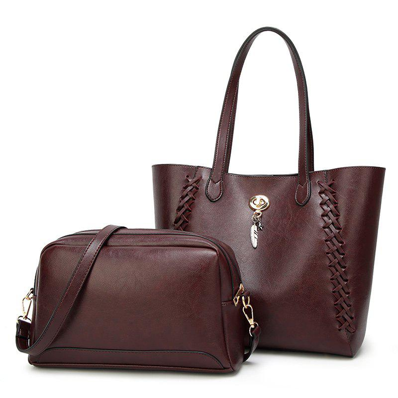 Ladies Fashion Oil Wax Feather Ornaments Two in One Handbag - DEEP RED
