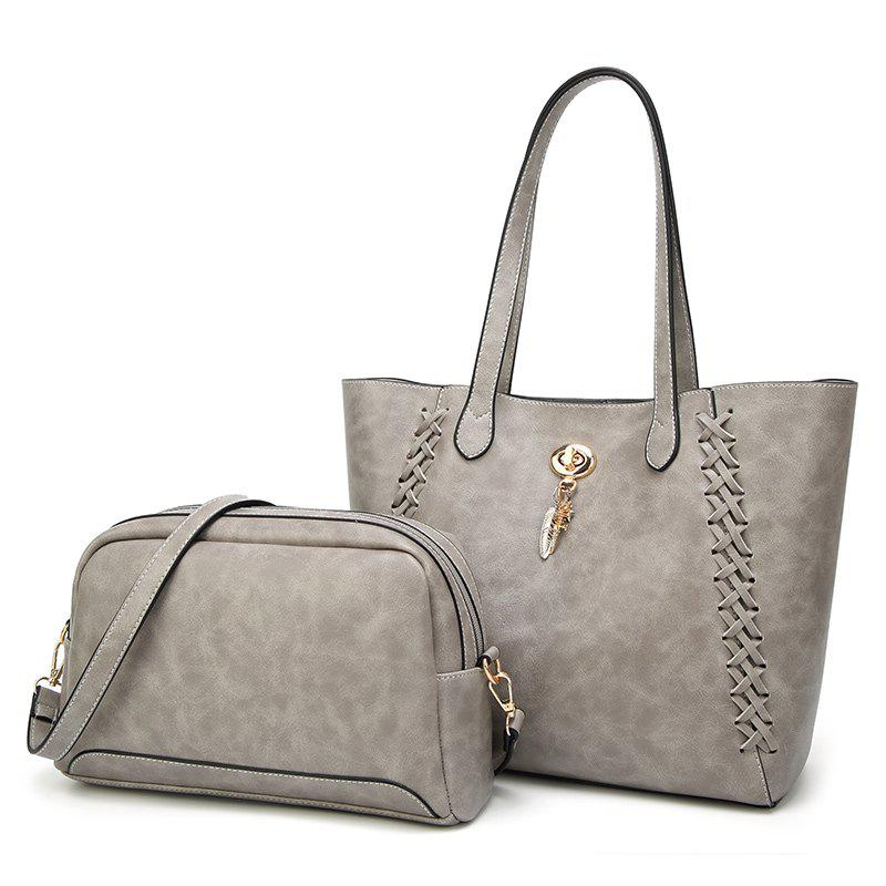 Ladies Fashion Oil Wax Feather Ornaments Two in One Handbag - GRAY