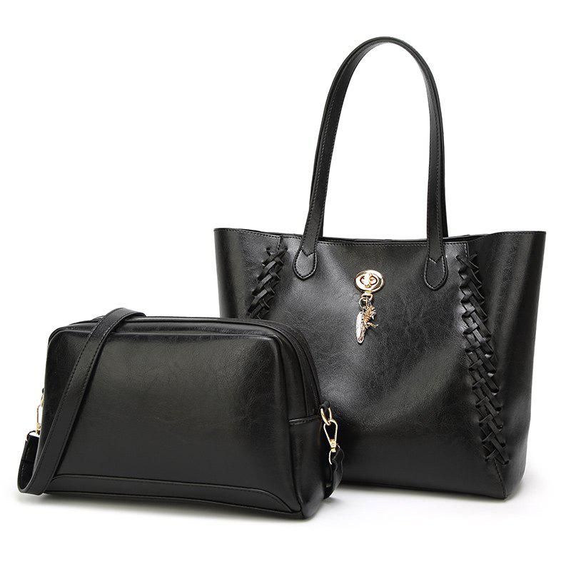Ladies Fashion Oil Wax Feather Ornaments Two in One Handbag - BLACK