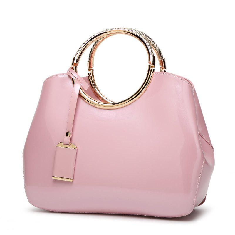 Ladie fashion Wild European and American Style Glossy Handbag - PINK