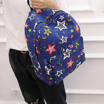 Women's Backpack Preppy Style Canvas Color Block All Match Bag - BLUE