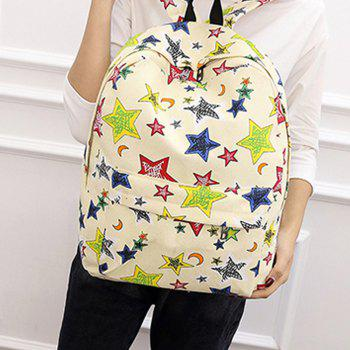 Women's Backpack Preppy Style Canvas Color Block All Match Bag - BEIGE