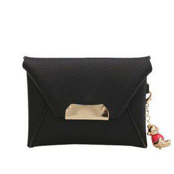 Women's Clutch Solid All Match Bear Pendant Square Cover Casual Bag - BLACK BLACK