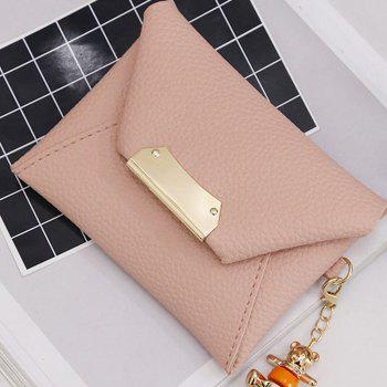 Women's Clutch Solid All Match Bear Pendant Square Cover Casual Bag - PINK