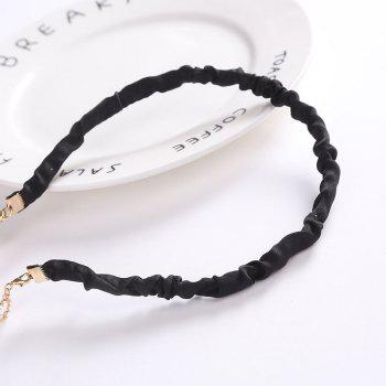 2017 Simple Tassel Glass Pearl Velvet Headband - BLACK