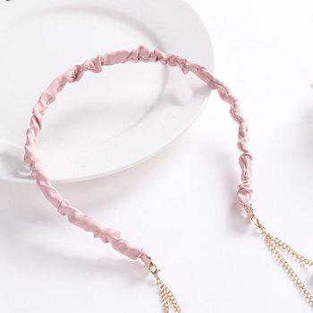 2017 Simple Tassel Glass Pearl Velvet Bandeau - ROSE PÂLE