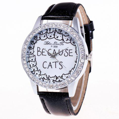 ZhouLianFa Top Brand Luxury Crystal Diamond-Studded Ladies Business Quartz Watch - BLACK
