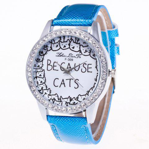 ZhouLianFa Top Brand Luxury Crystal Diamond-Studded Ladies Business Quartz Watch - BLUE
