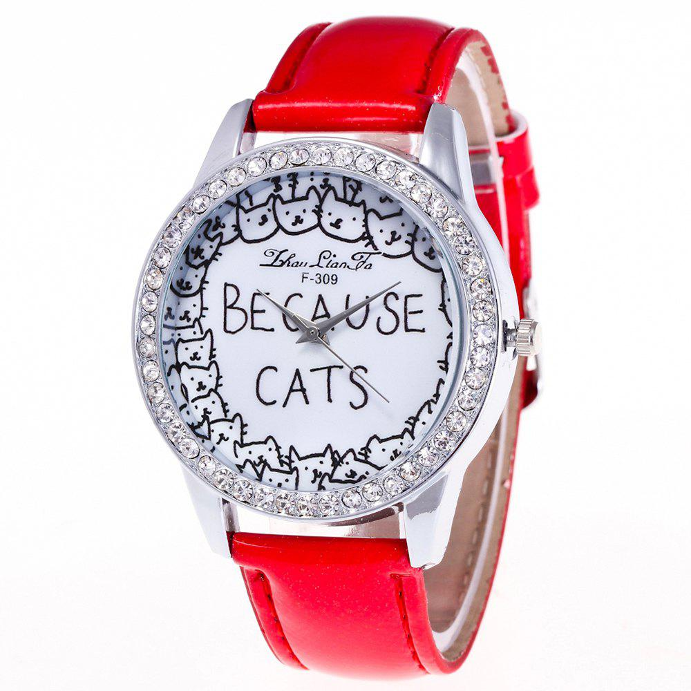 ZhouLianFa Top Brand Luxury Crystal Diamond-Studded Ladies Business Quartz Watch - RED