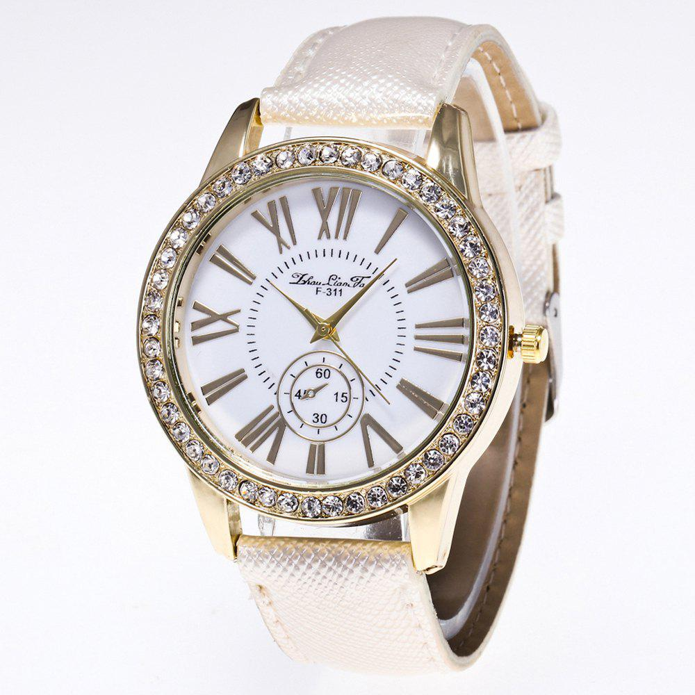 ZhouLianFa New Outdoor Fashion Luxury Diamond Ladies Quartz Watch - WHITE
