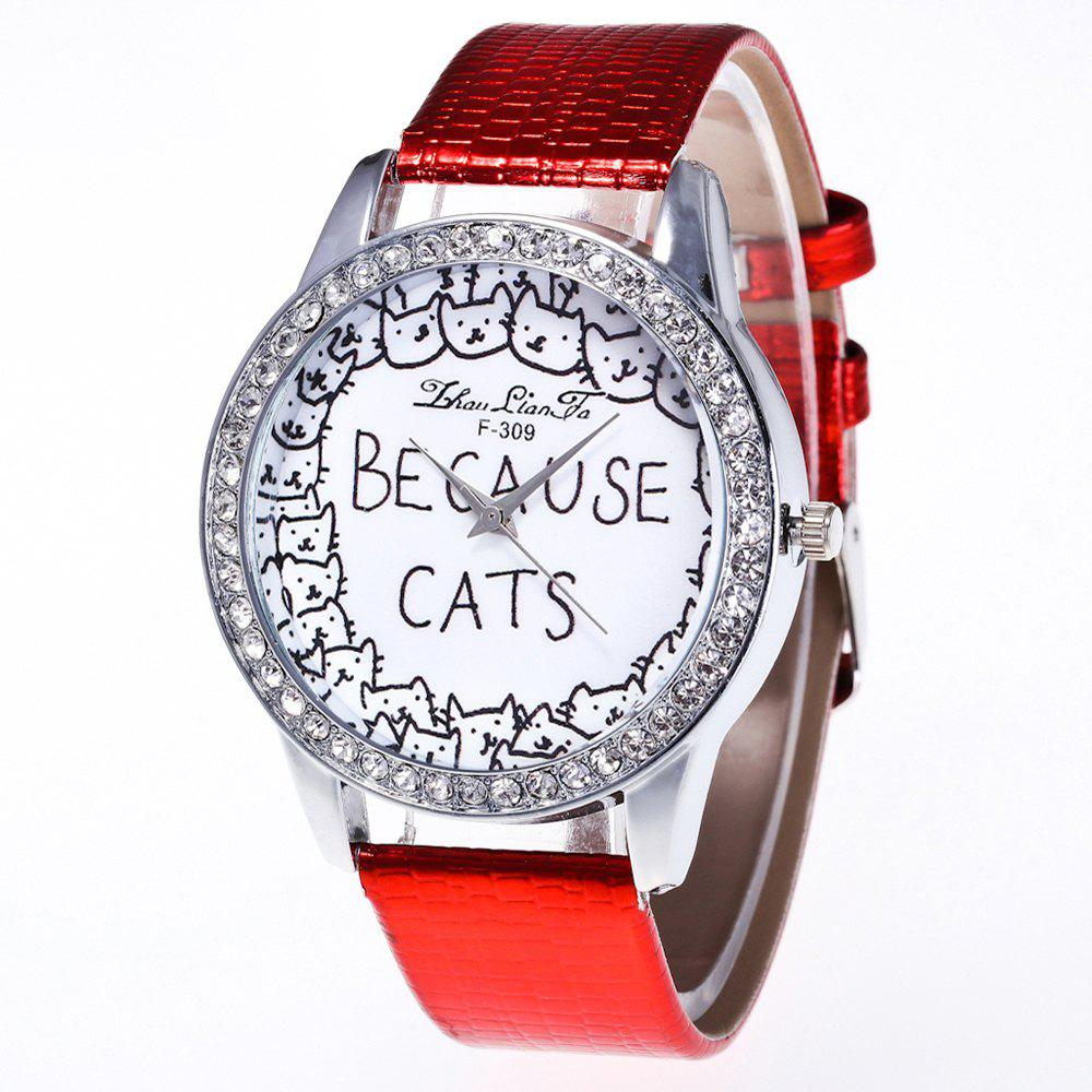 ZhouLianFa New Luxury Diamond Crocodile Pattern Ladies Quartz Watch - RED