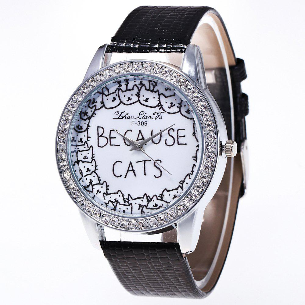 ZhouLianFa New Luxury Diamond Crocodile Pattern Ladies Quartz Watch - BLACK
