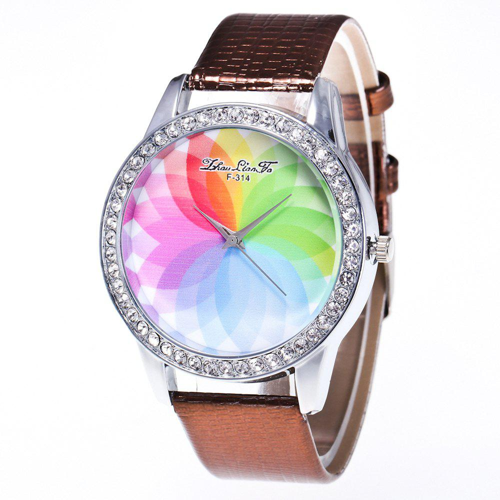 ZhouLianFa The New Fashion Trend Crocodile Pattern Movement Quartz Diamond Watch - BROWNIE