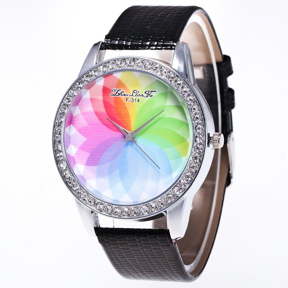 ZhouLianFa The New Fashion Trend Crocodile Pattern Movement Quartz Diamond Watch - BLACK