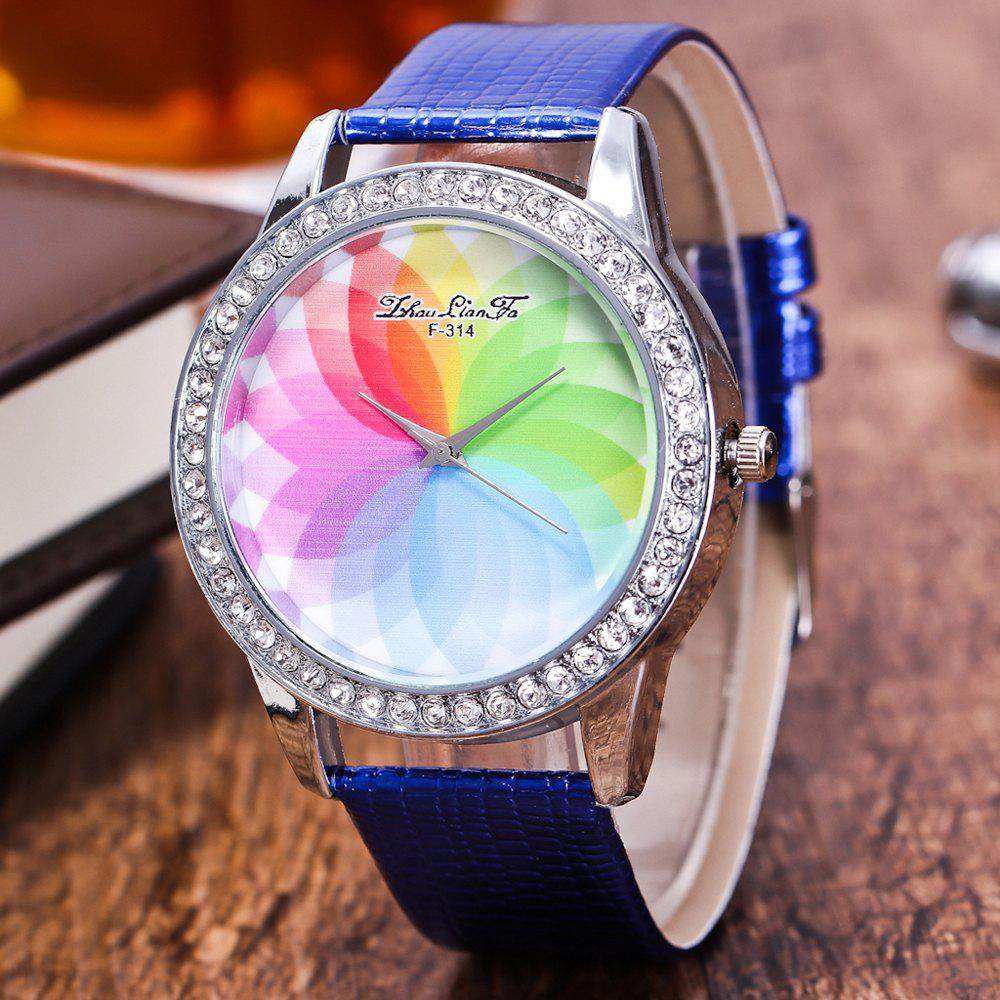 ZhouLianFa The New Fashion Trend Crocodile Pattern Movement Quartz Diamond Watch - BLUE