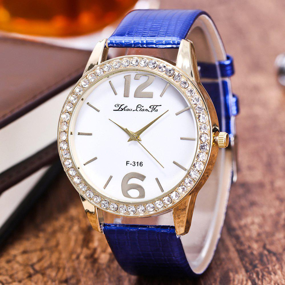 ZhouLianFa New Fashion Crocodile Pattern Luxury Diamond Quartz Watch - BLUE