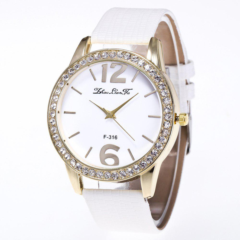 ZhouLianFa New Fashion Crocodile Pattern Luxury Diamond Quartz Watch - WHITE