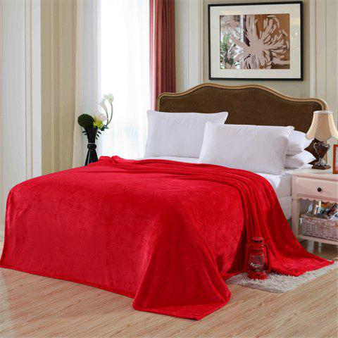 Winter thick warm semplice color flannel blanket sheet - RED SINGLE