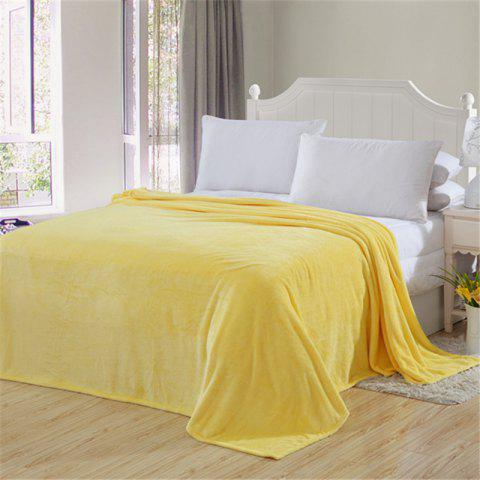 Winter thick warm semplice color flannel blanket sheet - YELLOW DOUBLE