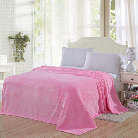 Winter thick warm semplice color flannel blanket sheet - PINK SINGLE