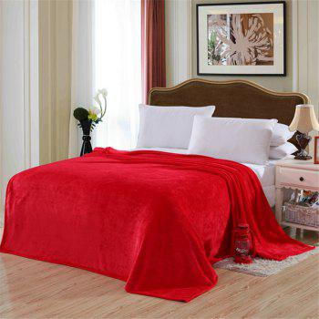 Winter thick warm semplice color flannel blanket sheet - RED RED
