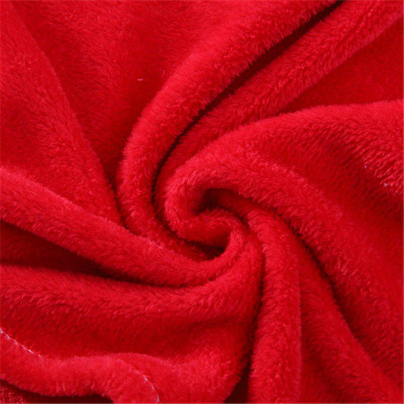 Winter thick warm semplice color flannel blanket sheet - RED DOUBLE