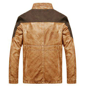 Stand Collar Stitching  PU Leather Motorcycle Jacket - CLEMENTINE 2XL