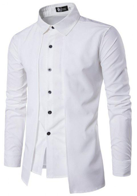 Men'S Spring and Autumn Leave Two Personality Double-Breasted Solid Color Fashion Casual Shirt Long-Sleeved Shirt - WHITE XL