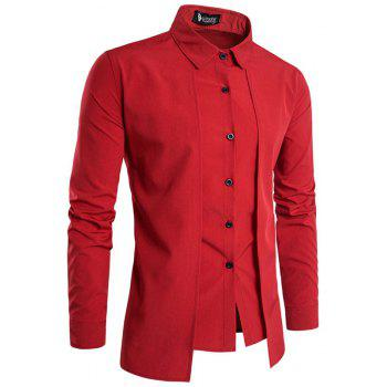 Men'S Spring and Autumn Leave Two Personality Double-Breasted Solid Color Fashion Casual Shirt Long-Sleeved Shirt - RED XL