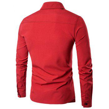 Men'S Spring and Autumn Leave Two Personality Double-Breasted Solid Color Fashion Casual Shirt Long-Sleeved Shirt - RED M