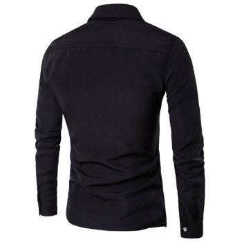 Men'S Spring and Autumn Leave Two Personality Double-Breasted Solid Color Fashion Casual Shirt Long-Sleeved Shirt - BLACK 2XL