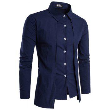 Men'S Spring and Autumn Leave Two Personality Double-Breasted Solid Color Fashion Casual Shirt Long-Sleeved Shirt - CADETBLUE XL