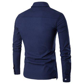 Men'S Spring and Autumn Leave Two Personality Double-Breasted Solid Color Fashion Casual Shirt Long-Sleeved Shirt - CADETBLUE M