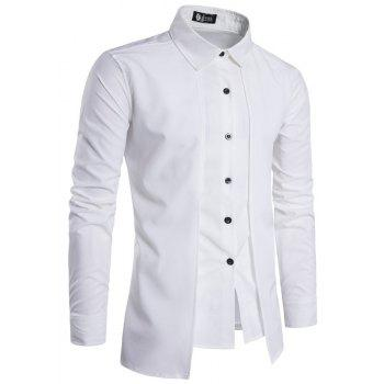 Men'S Spring and Autumn Leave Two Personality Double-Breasted Solid Color Fashion Casual Shirt Long-Sleeved Shirt - WHITE 2XL