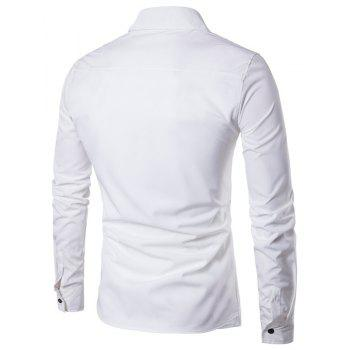 Men'S Spring and Autumn Leave Two Personality Double-Breasted Solid Color Fashion Casual Shirt Long-Sleeved Shirt - WHITE L