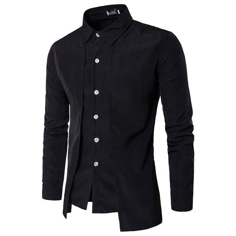 Men'S Spring and Autumn Leave Two Personality Double-Breasted Solid Color Fashion Casual Shirt Long-Sleeved Shirt - BLACK M