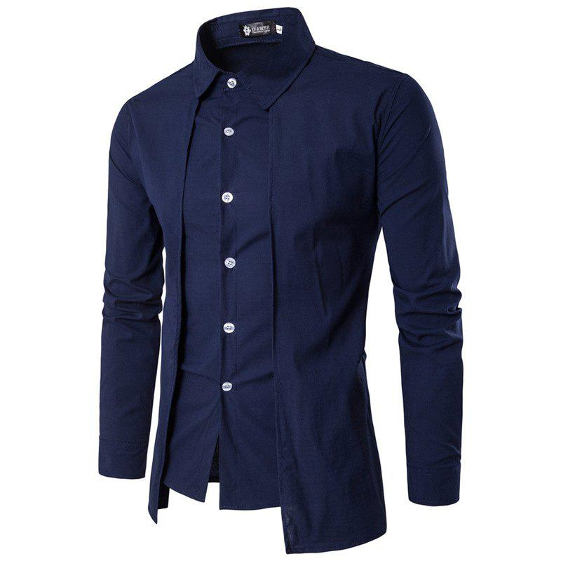 Men'S Spring and Autumn Leave Two Personality Double-Breasted Solid Color Fashion Casual Shirt Long-Sleeved Shirt - CADETBLUE 2XL