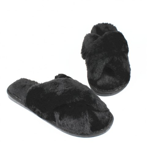 Faux Fur Overlay Flat Slippers - BLACK SIZE(36-37)