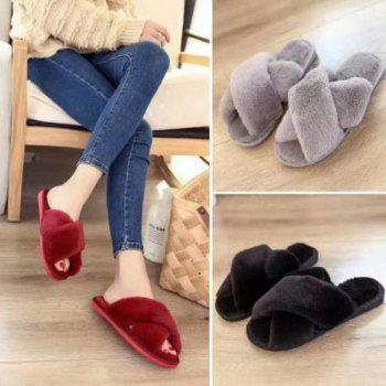 Faux Fur Overlay Flat Slippers - BLACK BLACK