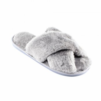 Faux Fur Overlay Flat Slippers - GREY GREY