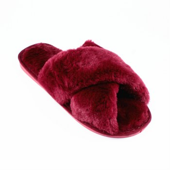 Faux Fur Overlay Flat Slippers - WINERED SIZE(38-39)
