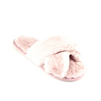 Faux Fur Overlay Flat Slippers - BARE PINK BARE PINK