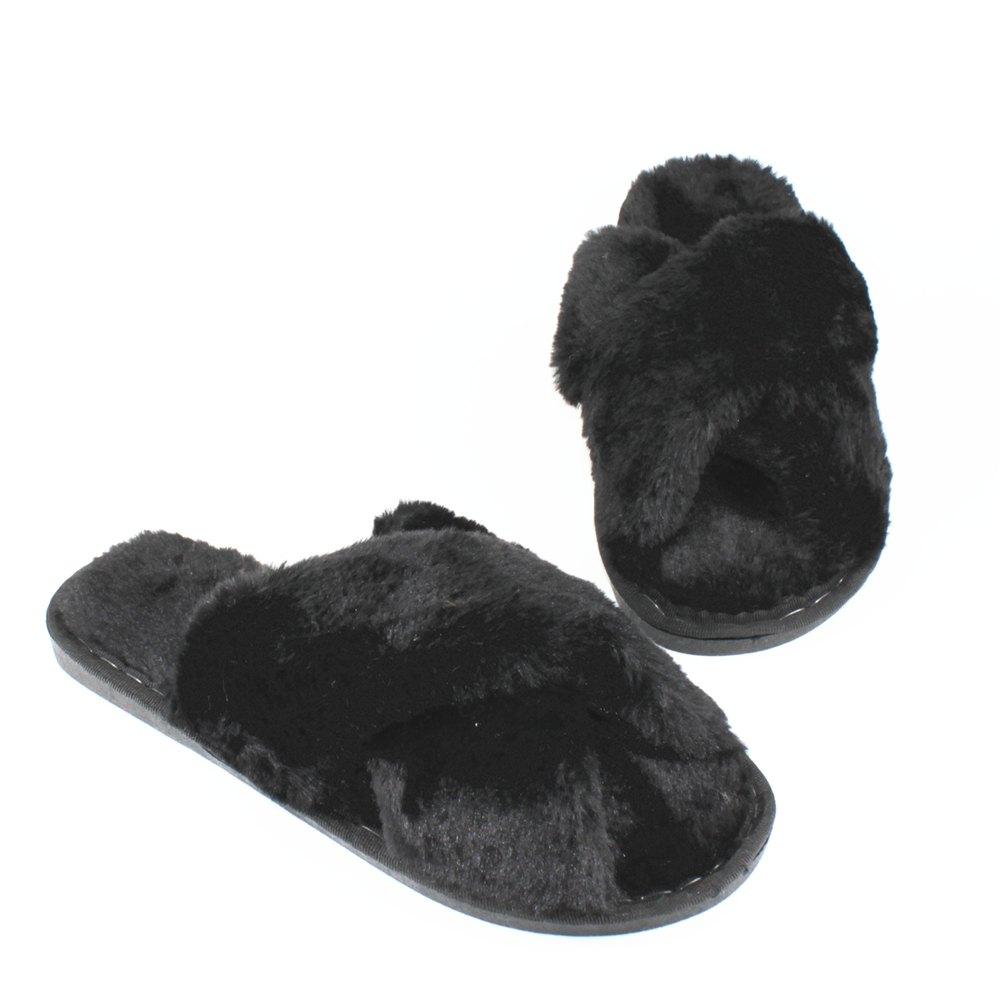 Faux Fur Overlay Flat Slippers - BLACK SIZE(38-39)