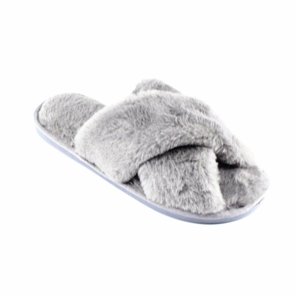 Faux Fur Overlay Flat Slippers - GREY SIZE(36-37)