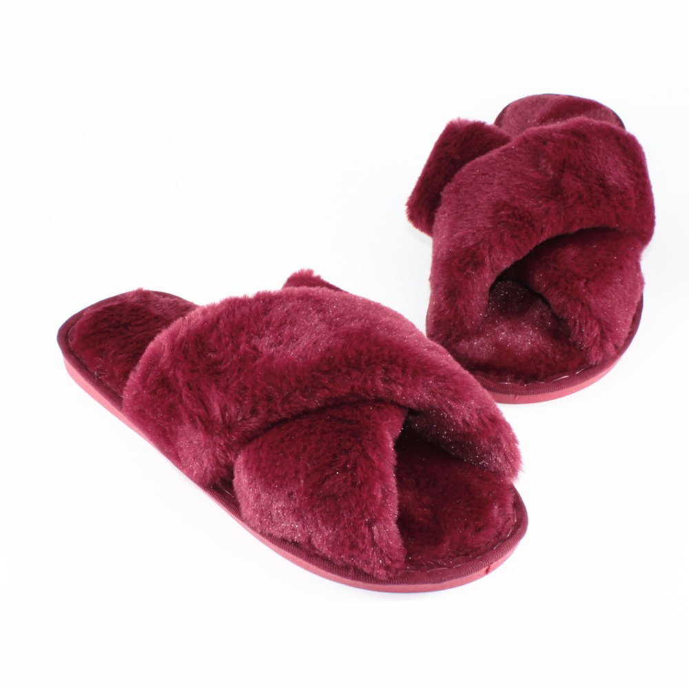 Faux Fur Overlay Flat Slippers - WINERED SIZE(36-37)