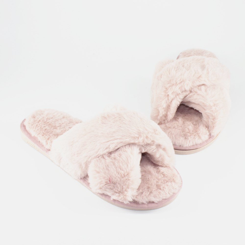Faux Fur Overlay Flat Slippers - BARE PINK SIZE(36-37)