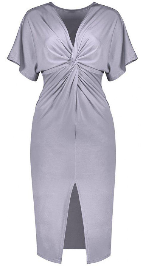 Solid Color Short Sleeve Split Ends Mini Dress - GRAY L