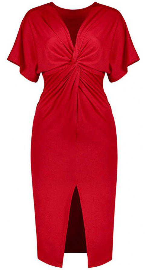 Solid Color Short Sleeve Split Ends Mini Dress - RED M